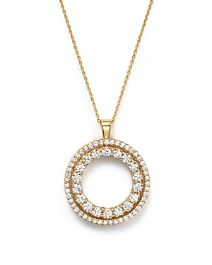 Roberto Coin 18K Yellow Gold Double Sided Circle Pendant Necklace with White and Cognac Diamonds, 16