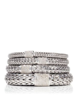 Classic Chain Sterling Silver Large Bracelet with Diamond Pavé
