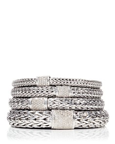 JOHN HARDY - Classic Chain Sterling Silver Bracelet with Diamond Pavé
