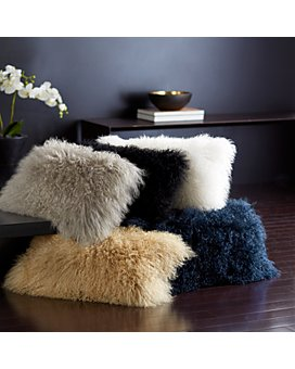 "Donna Karan - Flokati Fur Decorative Pillows, 11"" x 22"""