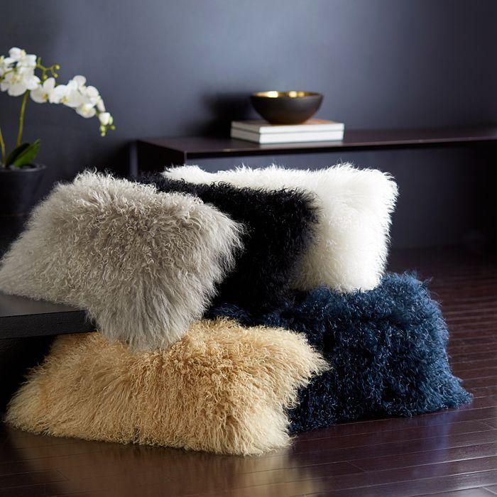 """Donna Karan - Flokati Fur Decorative Pillows, 11"""" x 22"""""""
