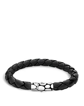 JOHN HARDY - Men's Kali Silver Black Woven Leather Bracelet