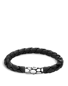 John Hardy - Men's Kali Silver Black Woven Leather Bracelet