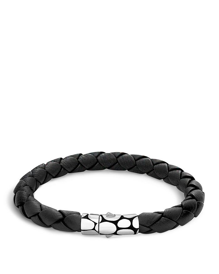 Silver Black Woven Leather Bracelet