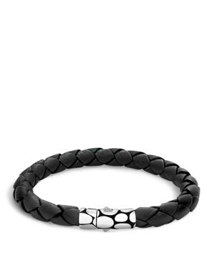 John Hardy Men's Kali Silver Black Woven Leather Bracelet