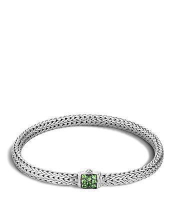 JOHN HARDY - Classic Chain Silver Lava Extra Small Bracelet with Tsavorite