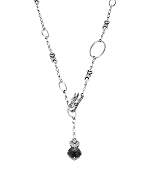 John Hardy Sterling Silver Naga Drop Pendant on Sautoir Necklace with Black Chalcedony and White Sap