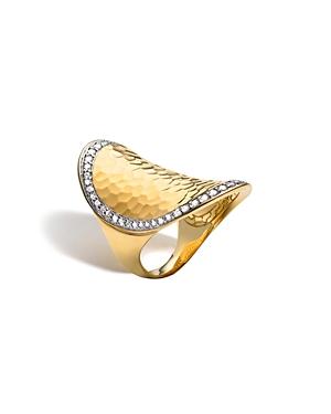 John Hardy Palu 18K Gold & Diamond Pave Oval Saddle Ring