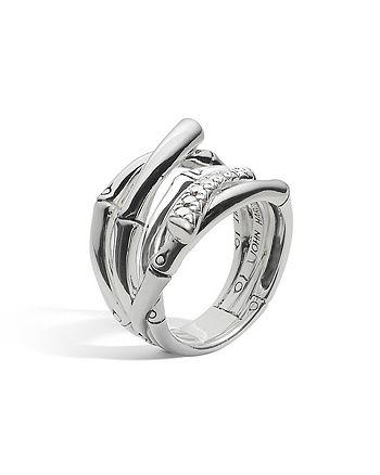 JOHN HARDY - John Hardy Women's Sterling Silver Bamboo Diamond Pavé Wide Ring