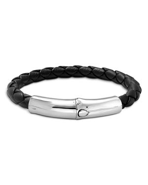 John Hardy Men's Bamboo Silver Black Woven Leather Station Bracelet