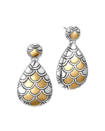 JOHN HARDY - John Hardy Sterling Silver & 18K Gold Naga Pear Shape Drop Earrings