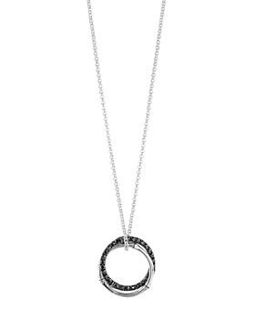 JOHN HARDY - Sterling Silver Bamboo Lava Medium Interlink Pendant Necklace with Black Sapphires, 16""
