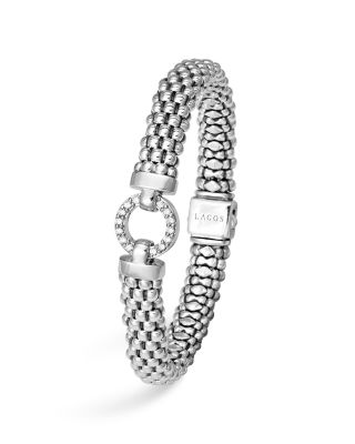 Sterling Silver Enso Rope Bracelet with Diamonds