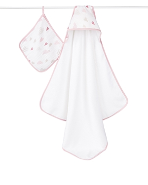 Aden + Anais Girls' Heart Print Hooded Towel & Washcloth Set - One Size