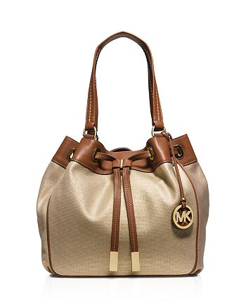 e9519b6cfe47 MICHAEL Michael Kors - Large Metallic Marina Drawstring Canvas Shoulder Bag