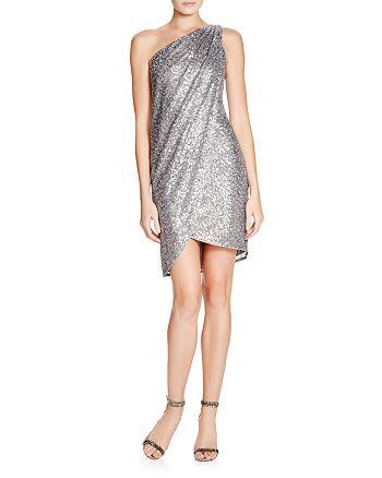 AQUA - One-Shoulder Sequin Dress - 100% Exclusive