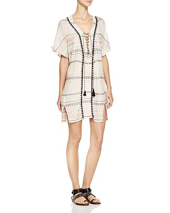 Gypsy05 Sand - Embroidered Lace-Up Tunic Swim Cover-Up