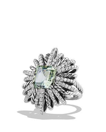 David Yurman - Starburst Ring with Diamonds and Prasiolite in Silver