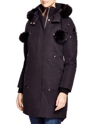 Stirling Fox Fur-Trimmed Parka, Black W/ Black Fur