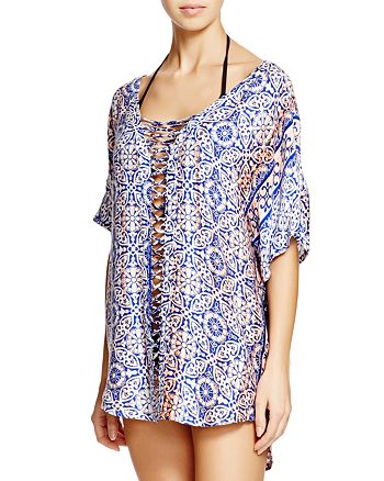 Gypsy05 Sand - Printed Dolman-Sleeve Tunic Swim Cover-Up