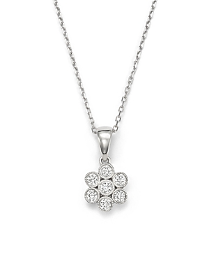 Diamond Flower Pendant Necklace in 14K White Gold, .20 ct. t.w. - 100% Exclusive