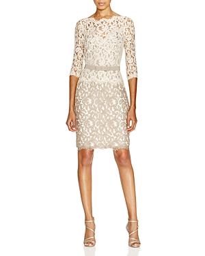 Tadashi Shoji Dress - Three Quarter Sleeve Illusion Neck Lace