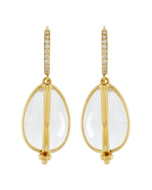 Temple St. Clair 18K Yellow Gold Classic Amulet Diamond Pave Earrings