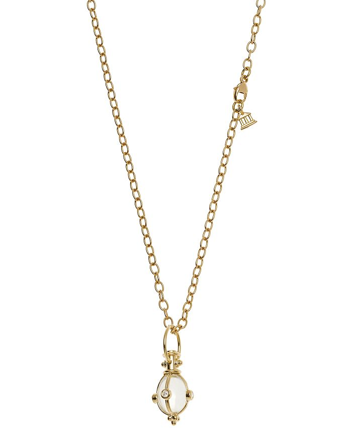 Temple St. Clair - 18K Classic Amulet Pendant with Oval Rock Crystal and Diamond