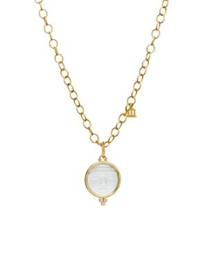 Temple St. Clair 18K Yellow Gold Moonface Pendant with Carved Rock Crystal and Diamond Granulation