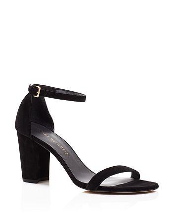 Stuart Weitzman - Women's Nearlynude Suede Ankle Strap Block Heel Sandals