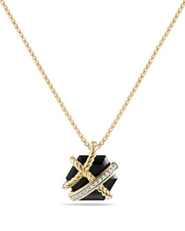 David Yurman - Cable Wrap Necklace with Black Onyx & Diamonds in 18K Gold