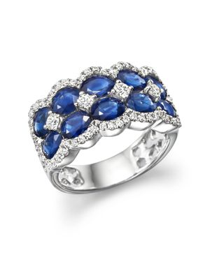 Diamond and Blue Sapphire Double Row Ring in 14K White Gold - 100% Exclusive