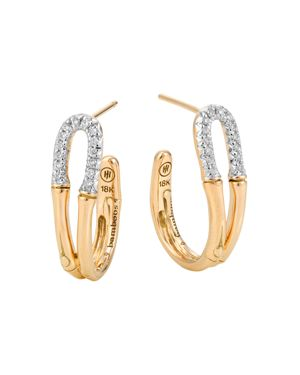 John Hardy Bamboo 18K Gold and Diamond Small Hoop Earrings