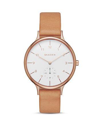 Skagen - Anita Leather Strap Watch, 34mm