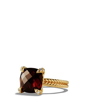 David Yurman - Châtelaine Ring with Garnet and Diamonds in 18K Gold