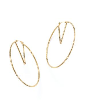 14K Yellow Gold V-Hoop Earrings - 100% Exclusive