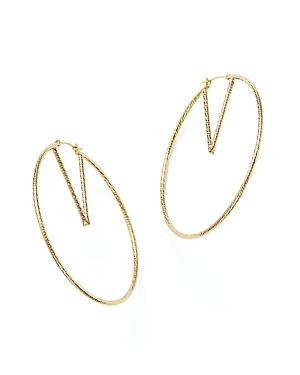 14K Yellow Gold V-Hoop Earrings - 100% Exclusive