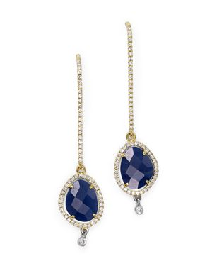 Meira T 14K Yellow and White Gold Blue Sapphire Dangle Earrings with Diamonds