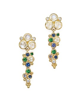 Temple St. Clair - 18K Yellow Gold Mare Drop Earrings with Tsavorite, Sapphire, Blue Moonstone and Diamond