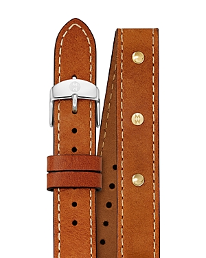 Michele Studded Double Wrap Leather Watch Strap, 18mm