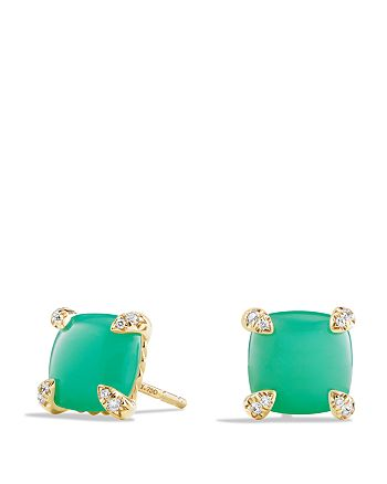 David Yurman - Châtelaine Earrings with Chrysoprase and Diamonds in 18K Gold
