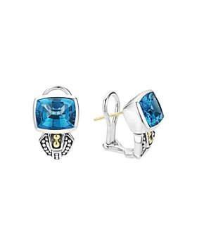 LAGOS - 18K Gold and Sterling Silver Caviar Color Stud Huggie Drop Earrings with Swiss Blue Topaz