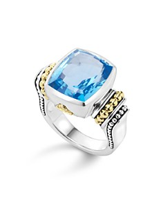 LAGOS - 18K Gold and Sterling Silver Caviar Color Medium Rings with Gemstone