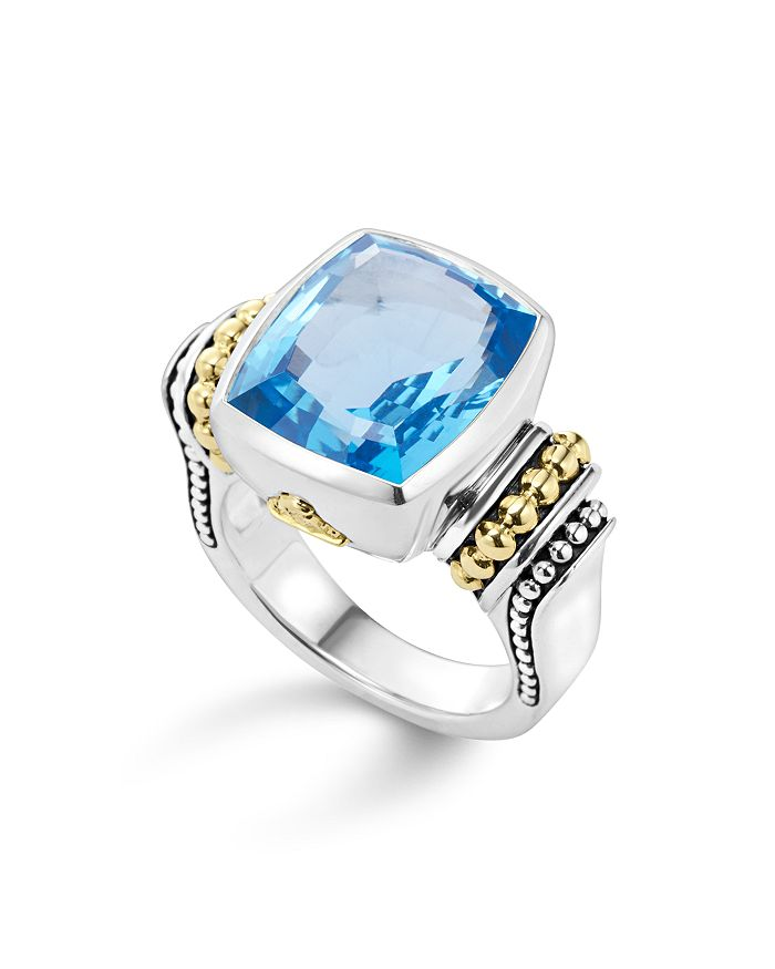 LAGOS - 18K Gold and Sterling Silver Caviar Color Medium Ring with Swiss Blue Topaz