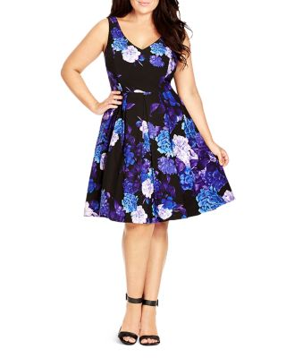PLUS SIZE FLORAL-PRINT FLARE DRESS