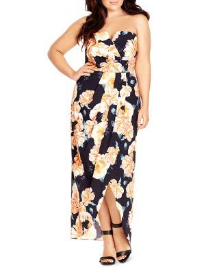 Plus Size Floral-Print Convertible Maxi Dress, Black