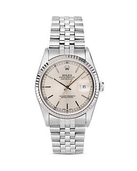 Pre-Owned Rolex - Stainless Steel and 18K White Gold Datejust Watch with Fluted Bezel and Silver Dial, 36mm