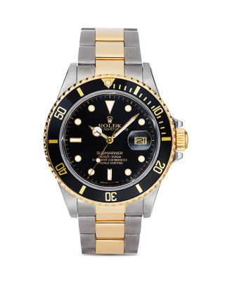 PRE-OWNED ROLEX Pre-Owned Rolex Stainless Steel And 18K Yellow Gold Two Tone Submariner Watch With Black Dial, 40Mm in Black/Gold