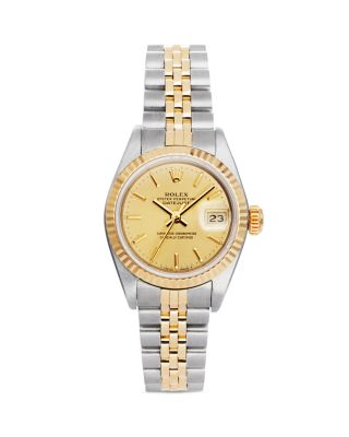 PRE-OWNED ROLEX STAINLESS STEEL AND 18K YELLOW GOLD TWO TONE DATEJUST WATCH WITH FLUTED BEZEL AND CH