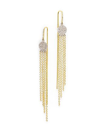 Meira T - 14K Yellow Gold and 14K White Gold Fringe Earrings with Diamonds